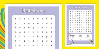 Rio 2016 Olympics Badminton Word Search - rio 2016, rio olympics, 2016 olympics, badminton, word search
