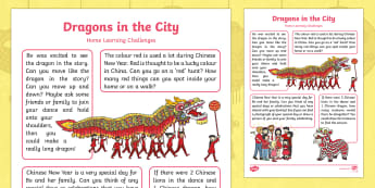 Dragons in the City Home Learning Challenges Nursery FS1 - twinkl originals, fiction, chinese new year, Early Years. Foundation, Homework, Homelearning, Home s