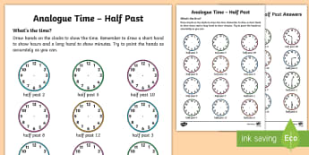 Analogue Time Half Past Worksheet / Activity Sheet - NI KS1 Numeracy, half past, analogue, clock, home learning