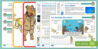 KS1 Our Beautiful Blue Planet Focused Reading Skills Comprehension Pack - The blue planet, BBC, David Attenborough, retrieval, inference, prediction, summarising, vocabulary,