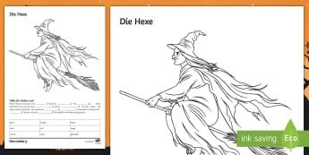 Witch Colouring Sheet German - Gap fill. Ks3, Halloween, Grammar, Reading Activity, German,German