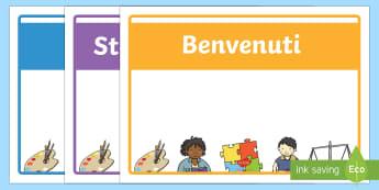 Benvenuti nella Classe Insegna Poster - benvenuti, benvenuto, classe, insegna, nuovo, anno, italiano, italian