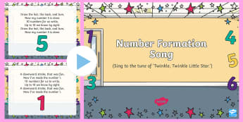 Number Formation Song PowerPoint - math, numeracy, numeral, numbers, number pictures, singing, song time