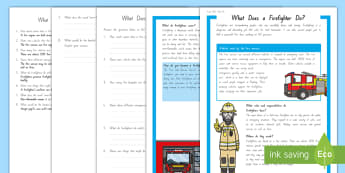 What Does a Firefighter Do? Differentiated Reading Comprehension Activity - People Who Help Us, heroes, community, New Zealand, Years 1-3, jobs, social sciences, reading, compr