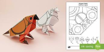 Simple Origami Robin Winter Christmas Paper Craft English/Italian  - Robin, paper craft, 3D, 3D paper craft, 3D model, British wildlife, EAL