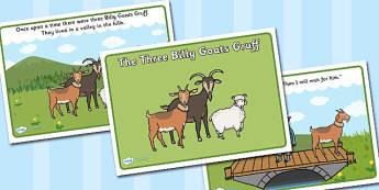 The Three Billy Goats Gruff Story - Three Billy Goats Gruff, traditional tales, tale, fairy tale, goat, billy goat, troll, sweet grass, bridge
