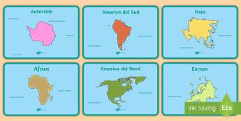 I Continenti e gli Oceani Attività - geografica, nazioni, mari, mappa, italiano, italian, materiale, scolastico