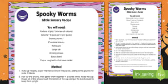 Spooky Worms Edible Sensory Recipe