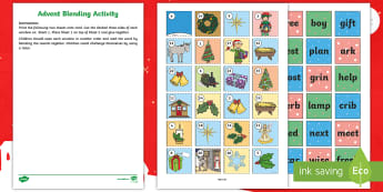 Advent Calendar Blending Activity - sounds, phonics, blend, digraphs, christmas, word, read, sound out,