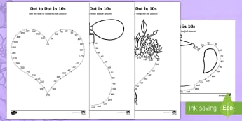 Mother's Day Dot to Dot in 10s Activity Sheet - number recognition, counting, 10s, mothers day