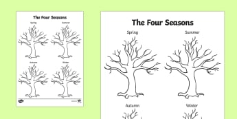 Four Seasons Tree Drawing Template - seasons, trees, plants, draw