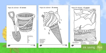 Summer Mindfulness Colouring Pages Spanish - painting, colours, behaviour, holidays, end, year