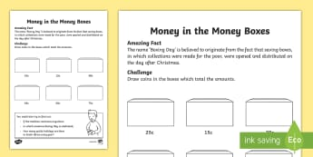 Money Boxes Activity Sheet - maths, money, coins, rands, cents, South African currency,