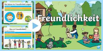 Freundlichkeit zeigen PowerPoint Präsentation - Nett, Nettigkeit, freundlich, Umgang, Kommunikation, Zusammenleben,,German