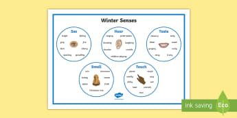 Winter Senses Word Mat - winter, senses, word mat, keywords