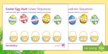 Easter Egg Hunt Sequences Differentiated Activity Sheets - maths, easter, sequences, hunt, linear, quadratic, nth term, common difference, worksheet