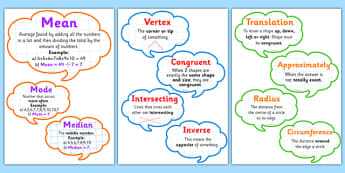 Maths Vocabulary Display Bubbles - maths vocabulary, numeracy vocabulary, ks2 numeracy vocabulary, numeracy vocab speech bubbles, maths vocabulary display