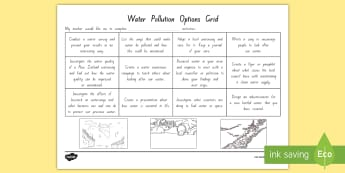 Water Pollution Topic Grid Activity - water, pollution, water pollution, new zealand, topic, science, environment