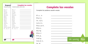 Holiday Travel Topic Missing Vowels Activity Sheet - Spanish, Vocabulary, KS2, holidays, travel, summer, trips, flying, travelling, vowels, missing, work