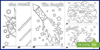 Fireworks / Bonfire Night Colouring Sheets Welsh - bonfire night, firewords, welsh, colouring, bonfire