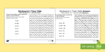 Multiplication 4 Times Tables Wordsearch Activity Sheet English/Romanian - Multiplication 4 Times Tables Wordsearch Worksheet - multiplication, 4 times tables, wordsearch, EAL