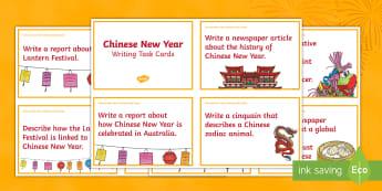 Chinese New Year Writing Task Cards - China, Celebration, Poetry, Persuasive Writing, Narrative, Report,Australia