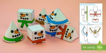 Simple 3D Snowman Shapes Christmas Nets Paper Craft English/Portuguese - 3D, shape, cube, cuboid, nets, christmas, snowmen, snowman, eal