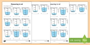 Measuring in ml Activity Sheet - Measuring in cm Activity Sheets - Measuring, CM, centimetres, ruler, rule, shapes spaces and measure