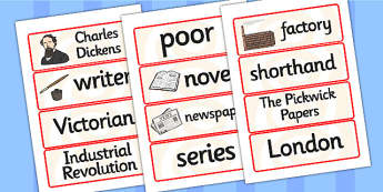Charles Dickens Word Cards - charles dickens, word cards, topic cards, themed word cards, themed topic cards, key words, key word cards, keyword, writing
