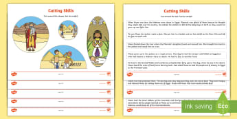 Life of Moses Story Sequencing Activity -  Egypt, Hebrews, slaves, Pharaoh, basket, God, sequencing, story sequencing, story resources, A4, ca