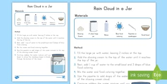 Rain Cloud in a Jar Science Experiment - Weather, Rain, Clouds, Science Experiment, Weather Experiment, Rain cloud experiment, Pre-K science,