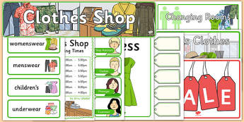 Clothes Shop Role Play Pack - australia, clothes shop Role Play, clothes shop, clothes shop resources, Role Play Pack, role play, Display signs, display, labels, pack money, euros, pounds, cheque book, till, cash, bank manager, cash machine, role pla