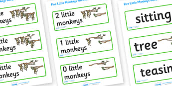 5 Little Monkeys Word Cards - 5 Little Monkeys, nursery rhyme, rhyme, rhyming, nursery rhyme story, word cards, flashcards, cards, nursery rhymes, counting rhymes, taking away, subtraction, counting basckwards, 5 Little Monkeys resources, on