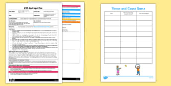 Throw and Count Game EYFS Adult Input Plan and Resource Pack - throw, count, game, eyfs, adult input plan