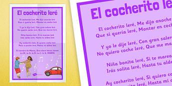 Canción El cocherito leré Poster - canción, song, nursery rhymes, presentation, poster, display, el cocherito