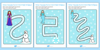 Winter Fairy Tale Pencil Control Worksheet / Activity Sheets - control, frozen