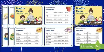 Bonfire Menu Challenge Cards - bonfire, tan gwyllt, fireworks, coelcerth, cwn poeth, hufen ia, hot dog, ice cream, sundea, diod, dr