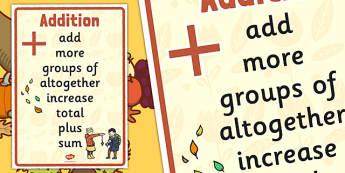 Autumn Themed Addition Vocabulary Display Poster - autumn, addition, vocabulary, display
