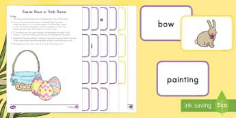 Easter Noun or Verb Game - Easter, Noun, Verb, ELA, Literacy, Centers, Circle Time, Whole Group, Small Group