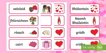 Valentine's Day Word Cards Gaelic - CfE Gaelic Events Resources, flashcards, topic vocabulary, valentine's day,literacy resources, writ