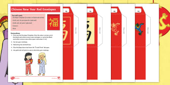 Dragons in the City Red Envelopes Craft Instructions - Chinese New Year, Twinkl Originals, Fiction, KS1, EYFS, lucky, dragon