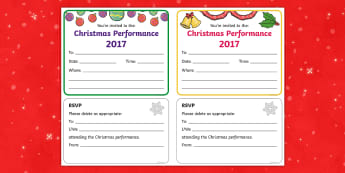 Christmas Performance Invitation - christmas show, show, play, drama, invite, invites, parents, carers, guardians,
