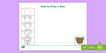 How to Draw a Bear Activity Sheet - Bears, Animals, Physical Development, Circles, Lines, Tripod grip, fine motor, Expressive Arts and D