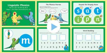 Northern Ireland Linguistic Phonics Stage 1 m, o, c, f, r, u, d, h, g, k, b PowerPoint - Sounds, CVC, VC, Segmenting, Blending, Phonemes, Graphemes