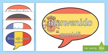 """""""Bun venit!"""" în diferite limbi Bule de dialog - septembrie, început de an școlar, revenirea la școală, mesaje motivaționale, adaptare la școal"""