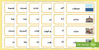 بطاقات مفردات متعلقة بالعناصر الطبيعية والمُنشأة والمُدارة - علوم، احياء، بيئة، مفردات، بطاقات، كتابة، قراءة,Arabic
