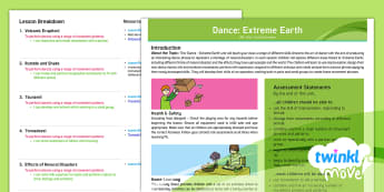 Twinkl Move - Year 3 Dance: Extreme Earth Unit Overview - Planning, Progress, Monitoring, Dance, PE