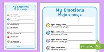 My Emotions Chart English/Polish - My Emotions Writing Template - feelings, emotions, SEN, class management, emtions, pictures of peopl