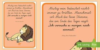 Mutig sein Motivierendes Poster für die Klassenraumgestaltung - Motivation, Inspiration, Muti, lernen, Versuch, Klassenzimmer,,German