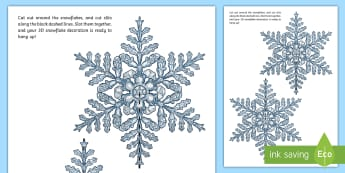 3D Snowflake Paper Craft - xmas, christmas, snow, hanging, snowflakes, crafts, 3d crafts